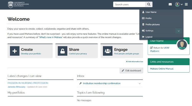 Picture of the Mahara dashboard