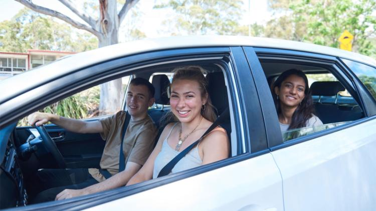 Students carpooling to campus