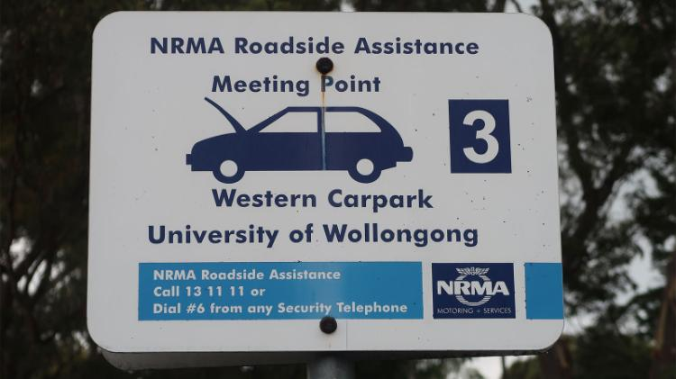 NRMA roadside assistance meeting point sign