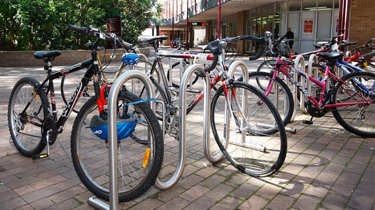 Bikes on bike rack