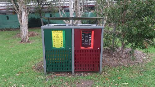 outdoor waste and recycling bin