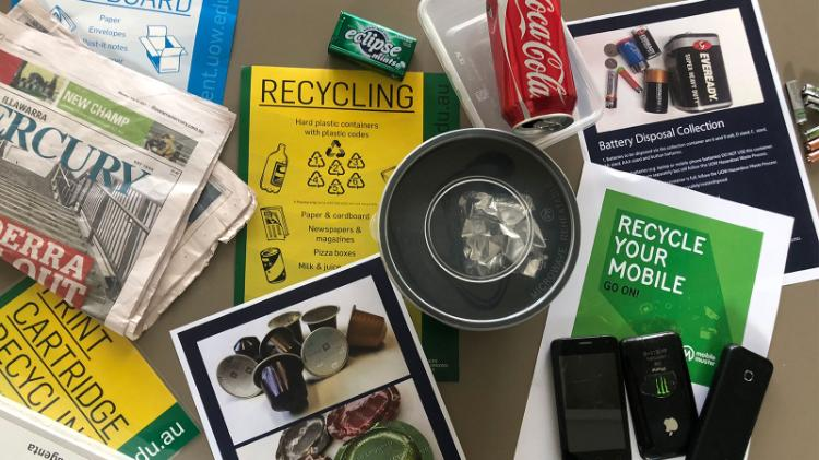 Some of the recycling collection services available at Wollongong campus