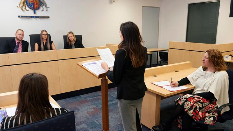 Law students in the moot court