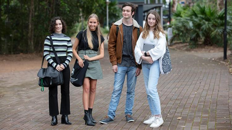 Students from the School of Liberal Arts standing together at Wollongong campus