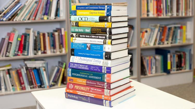 Stack of research books