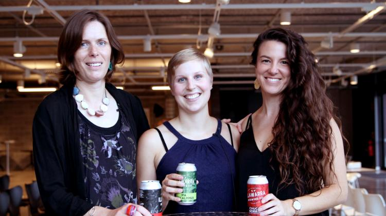 Uni in the brewery research event- Sarah Hamlyton, Claudia Keilkopf and Rachelle Balez