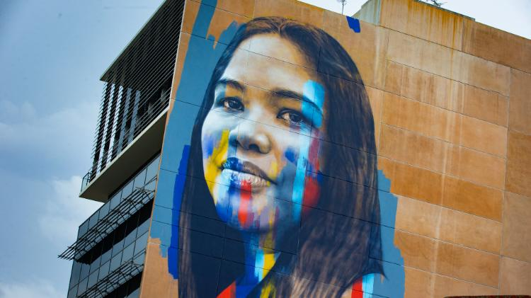a mural of a student in Liverpool