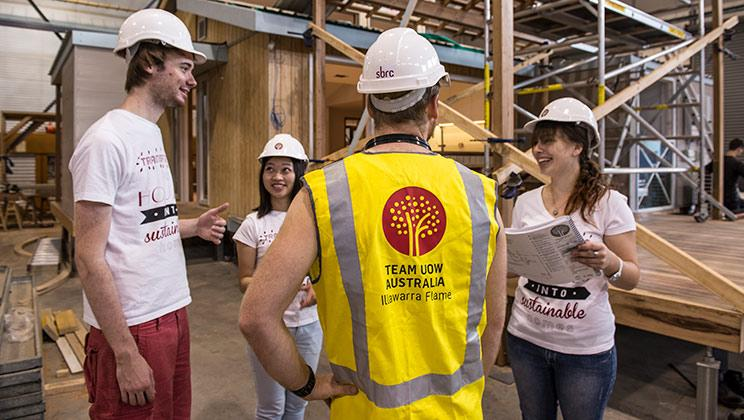 UOW Engineering Illawarra Flame team work on a sustainable building