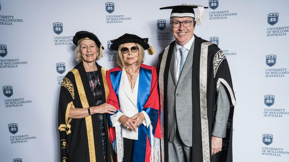 Former Chancellor Jillian Broadbent with Carla Zampatti and UOW Vice-Chancellor Professor Paul Wellings. Photo: Alex Pike