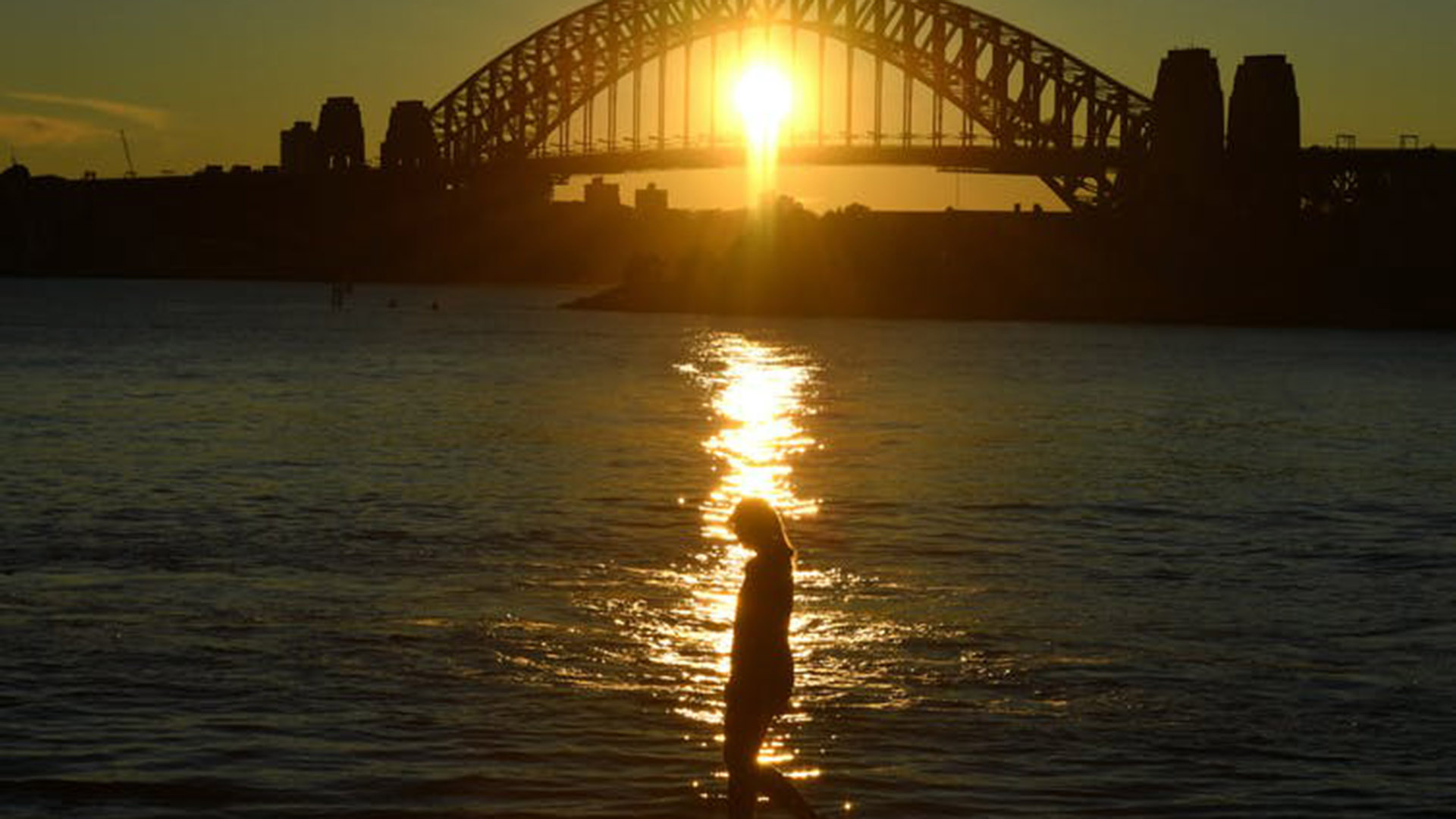 Sunset with the Sydney Harbour Bridge. Mick Tsikas/AAP