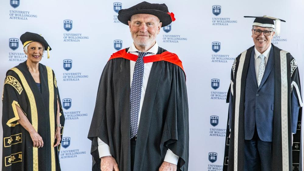 UOW Chancellor Elizabeth Magassy, Emeritus Professor Ross Bradstock, and Vice-Chancellor Professor Paul Wellings. Photo: Paul Jones