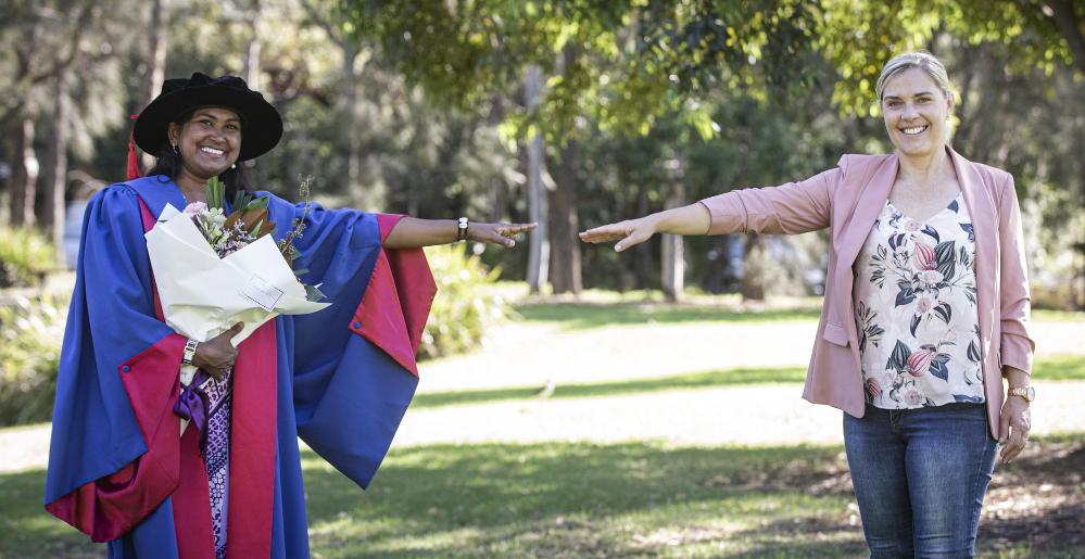 UOW graduate Dr Kirti Lal with her supervisor Associate Professor Kerrylee Rogers. Photo: Paul Jones