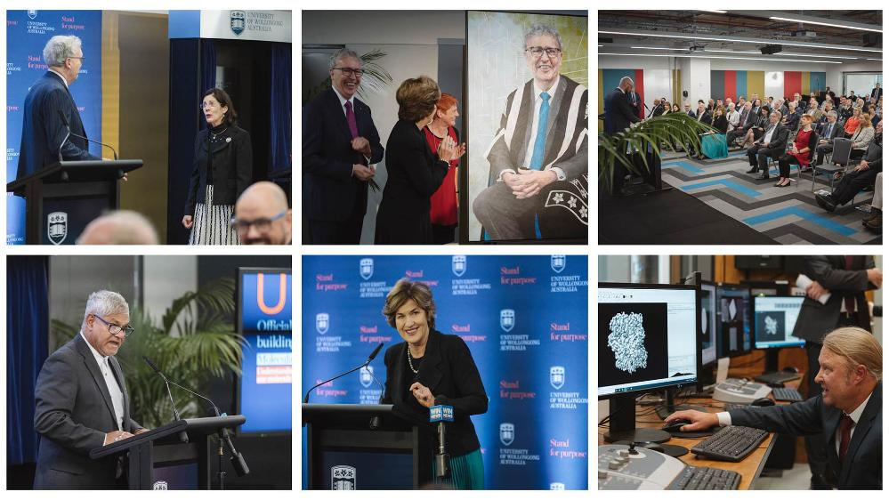 Collage of images from the official opening of the Molecular Horizons Building 30 April 2021