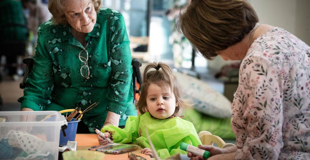 Children and grandparents take part in the Intergenerational Playgroup at Early Start. Photo: Paul Jones