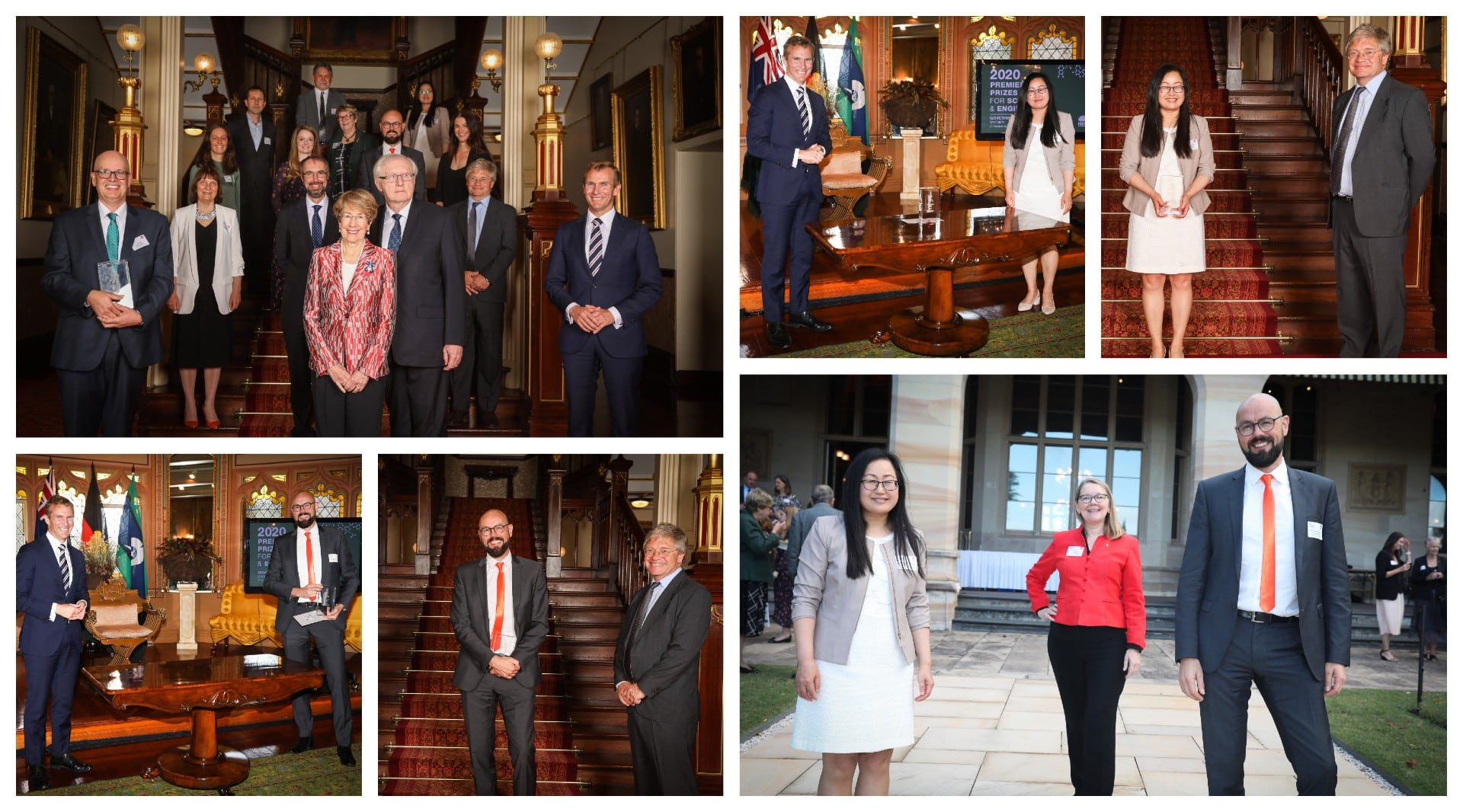 Collae of photos from the 2020 NSW Premier's Prizes for Science and Engineering faturing Zaiping Guo, Antoine van Oijen and Jenny Martin