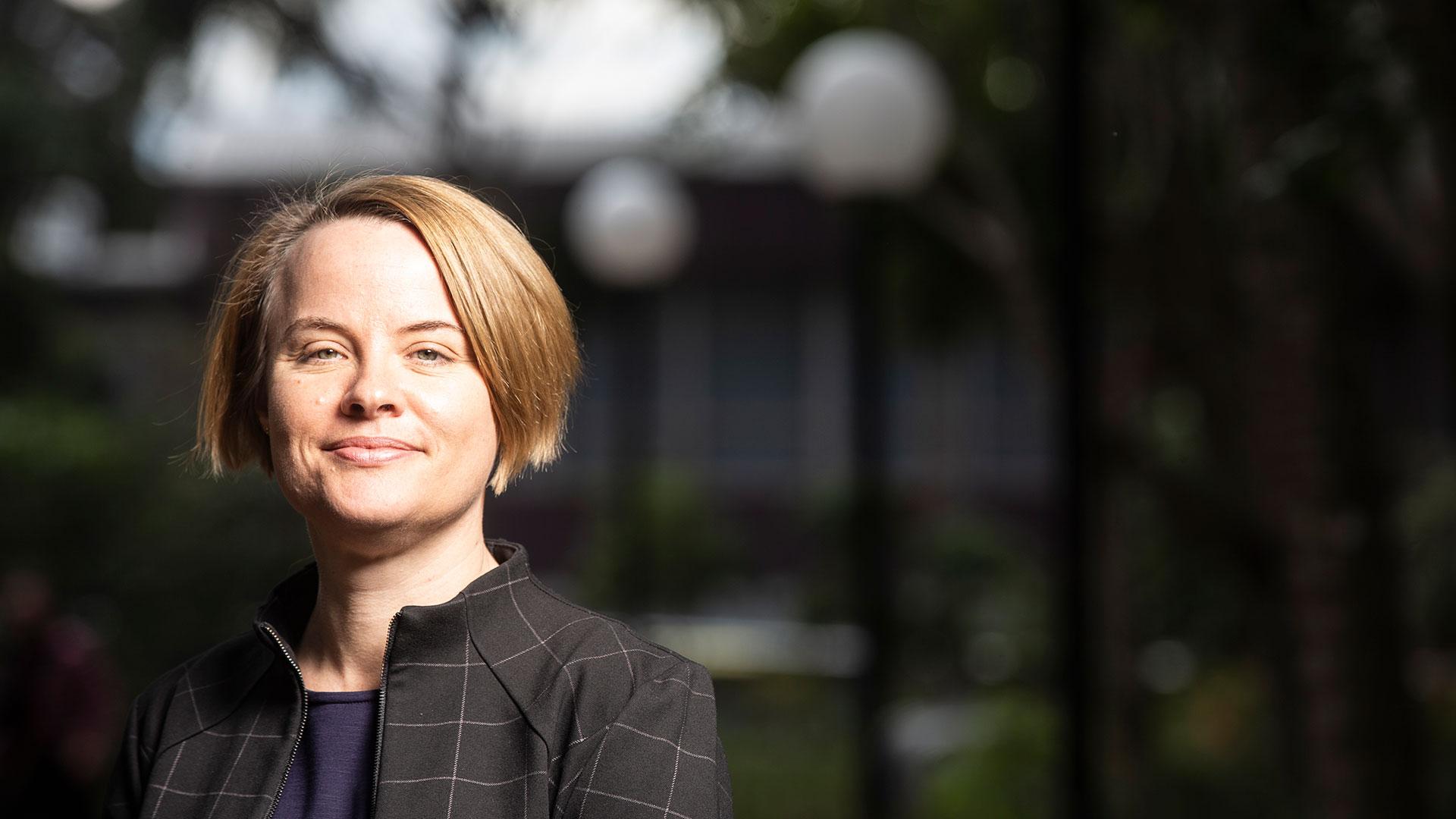 Professor Sue Bennett outside on Wollongong Campus