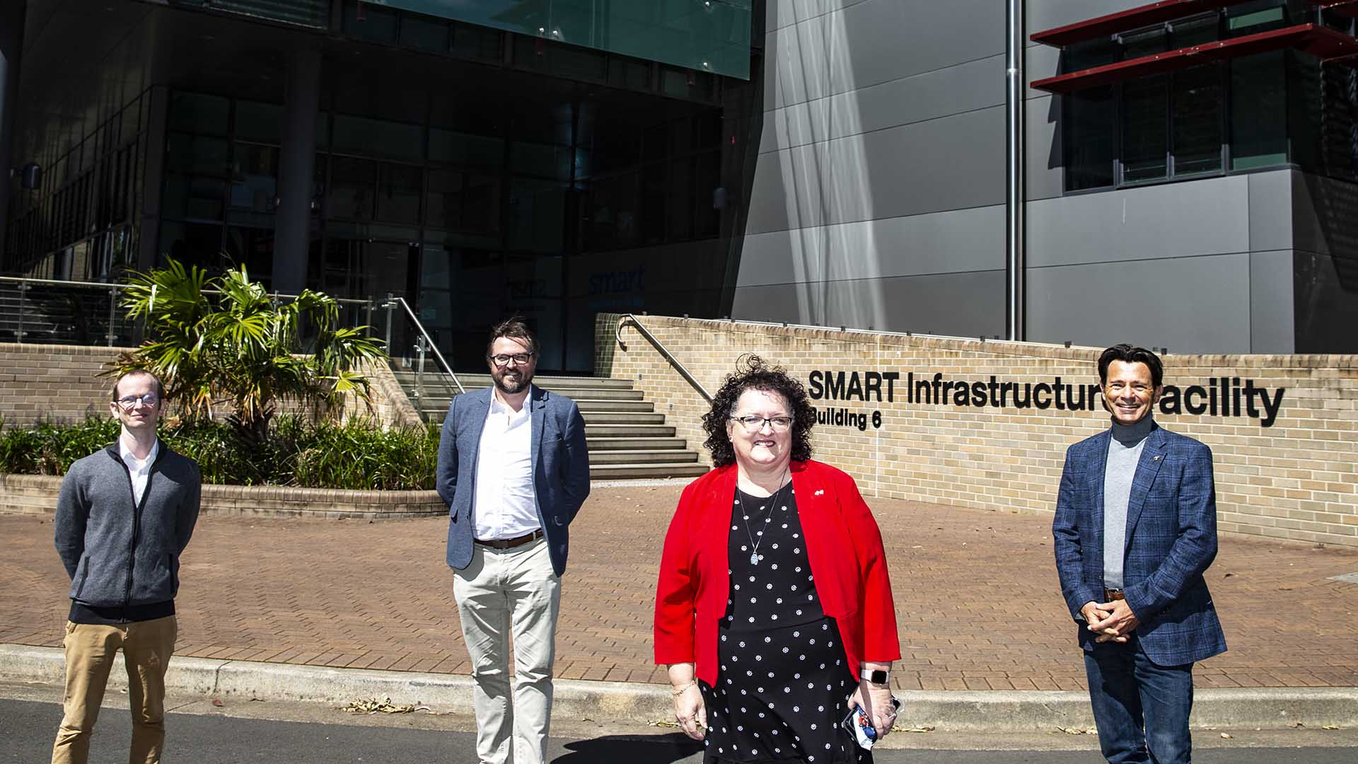 Johan Barthelemy, Iain Russell, Tania Brown, Pascal Perez at the SMART Infrastructure Facility for the launch of the Telstra-UOW Hub for AIOT Solutions