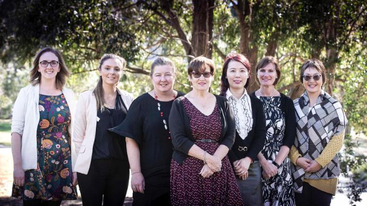 Left to right: Jessica Nealon, Jessica Bresolin, Nicole Britton, Val Wilson, Rita Chang, Victoria Traynor, Ping Yu.